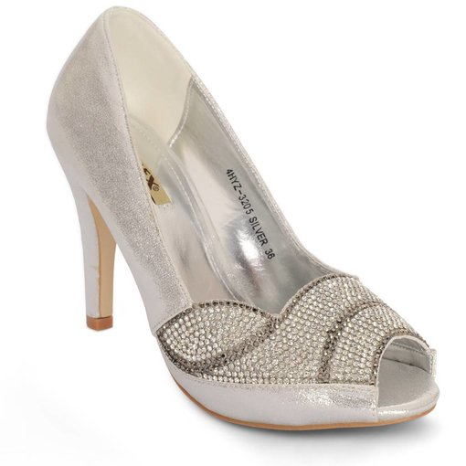 Peep-toe pumps - zilver