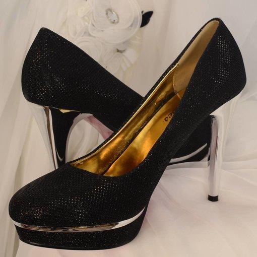 Glitter pumps zwart