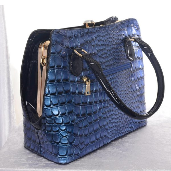 Lederlook Handtas met Krokodillenprint - Blue/Black