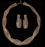 Luxe strass ketting + oorbellen- Goud (Y121)