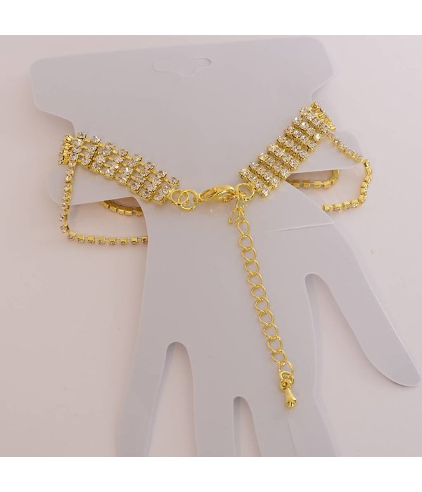 Handsieraad Ring + Armband - Strass Goud