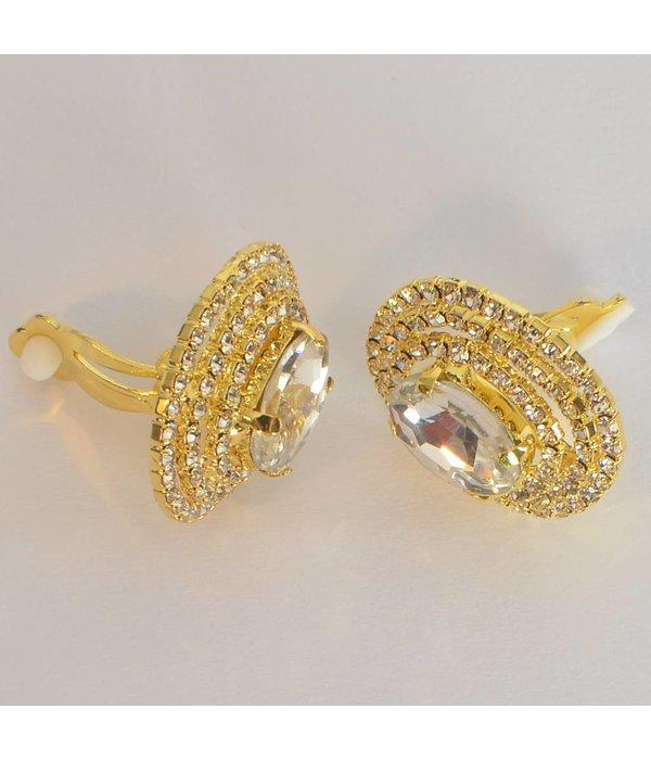 clip oorbellen - strass goud