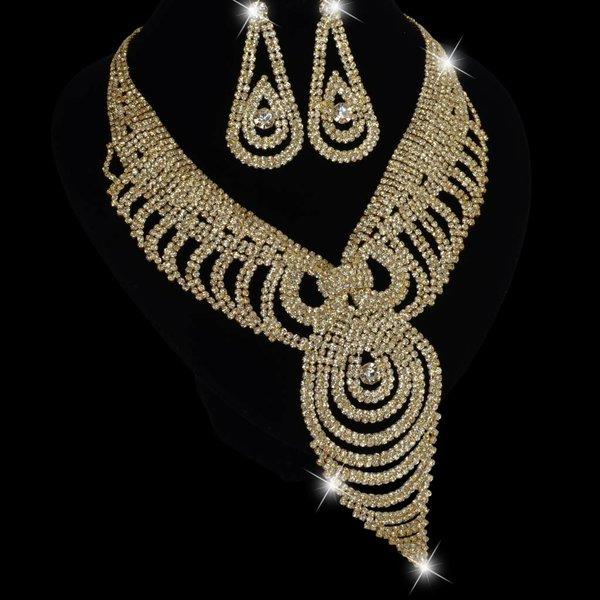 Stijlvolle strass collier + oorbellen - Goud