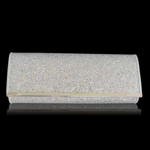 Glitter-look clutch zilver