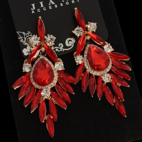 oorbellen met strass steentjes en kristallen - Rood