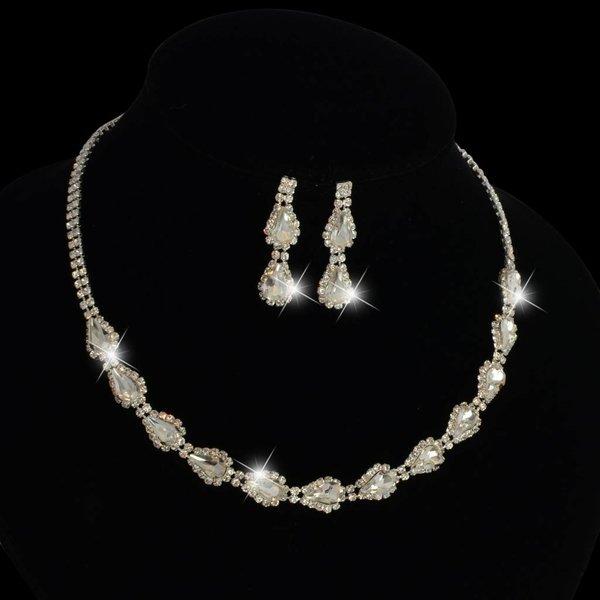 luxe kristal bruids sieraden set