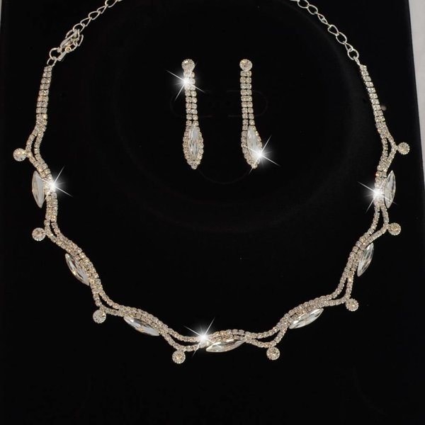 kristal bruids sieraden set