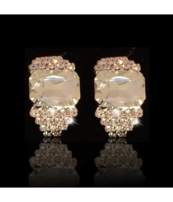 clip oorbellen - strass - zilver (W132)