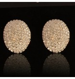clip oorbellen - strass - zilver (W116)