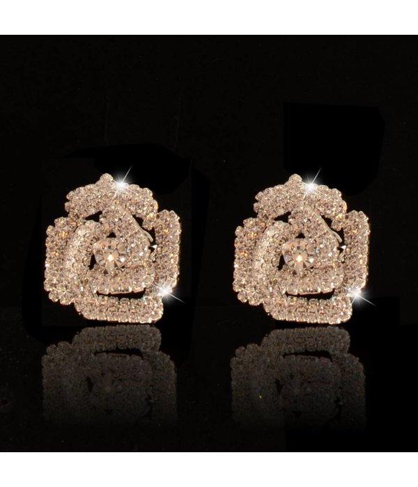 clip oorbellen - strass - zilver bloem