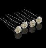 Haaarpinnen bloem met strass en witte parels(2st.)