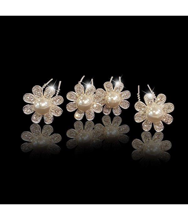 Haaarpinnen bloem met strass en witte parels (2st.)
