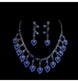 Sieradenset met blauwe strass stenen (Q14)