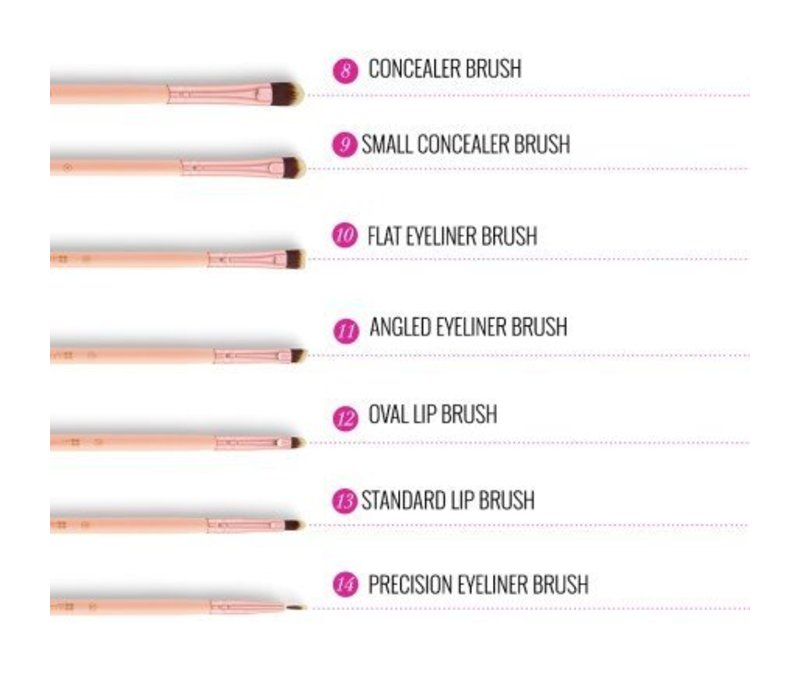 BH Cosmetics BH Chic 14 Piece Brush Set with Cosmetic Case