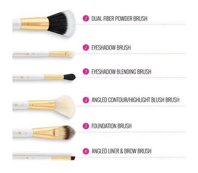 BH Cosmetics Bright White 6 Piece Brush Set with Cosmetic Bag