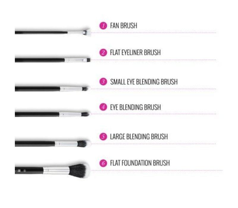 BH Cosmetics Dual Fiber 9 Piece Brush Set with Black Brush Roll