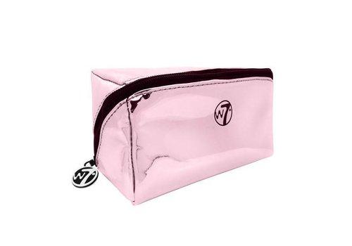 W7 Cosmetics Metallic Pink Zip Cosmetic Bag