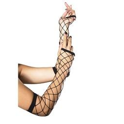 Leg Avenue Lange Handschoenen van Netstof - Zwart
