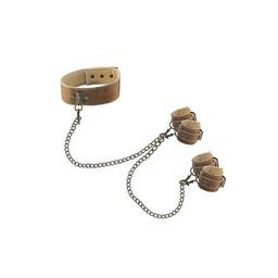 Ouch! Brown Brown Halsband Met Hand- En Enkelboeien