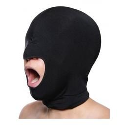 Master Series Zwart rekbaar masker met open mond