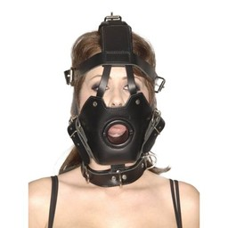 Master Series Strict Leather Premium Muzzle with Open Mouth Gag