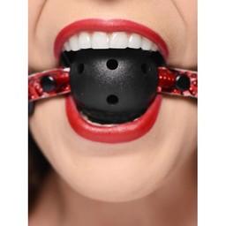 Crimson Tied Ball Gag met luchtgaten - Zwart/Rood