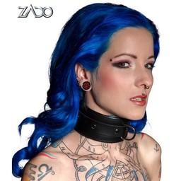 Zado Leren Halsband met Ring - Zwart
