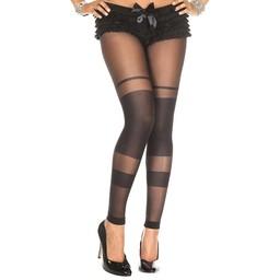 Musiclegs Transparante Legging Met Strepen Design - Zwart