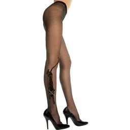 Music Legs Plus Size Panty Met Tijgerdesign - Zwart