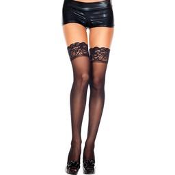 Music Legs Plus Size Hoge Kousen Met Kanten Rand - Zwart