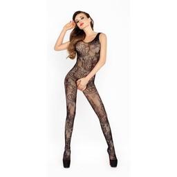 Passion Open kruis catsuit van zwart netstof