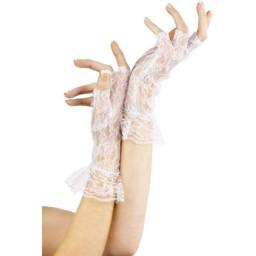 Fever Vingerloze Kanten Handschoenen - Wit