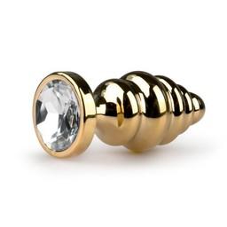 Easytoys Anal Collection Metalen buttplug met heldere steen - goudkleurig