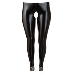 Cottelli Collection Wetlook Legging met Open Kruis- Zwart