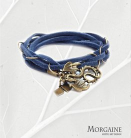 Blue Suede Leather Bracelet - Big Dragon