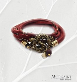 Dark red Suede Leather Bracelet - Dragon with Bells
