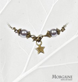 Delicate Bracelet - grey beads and star