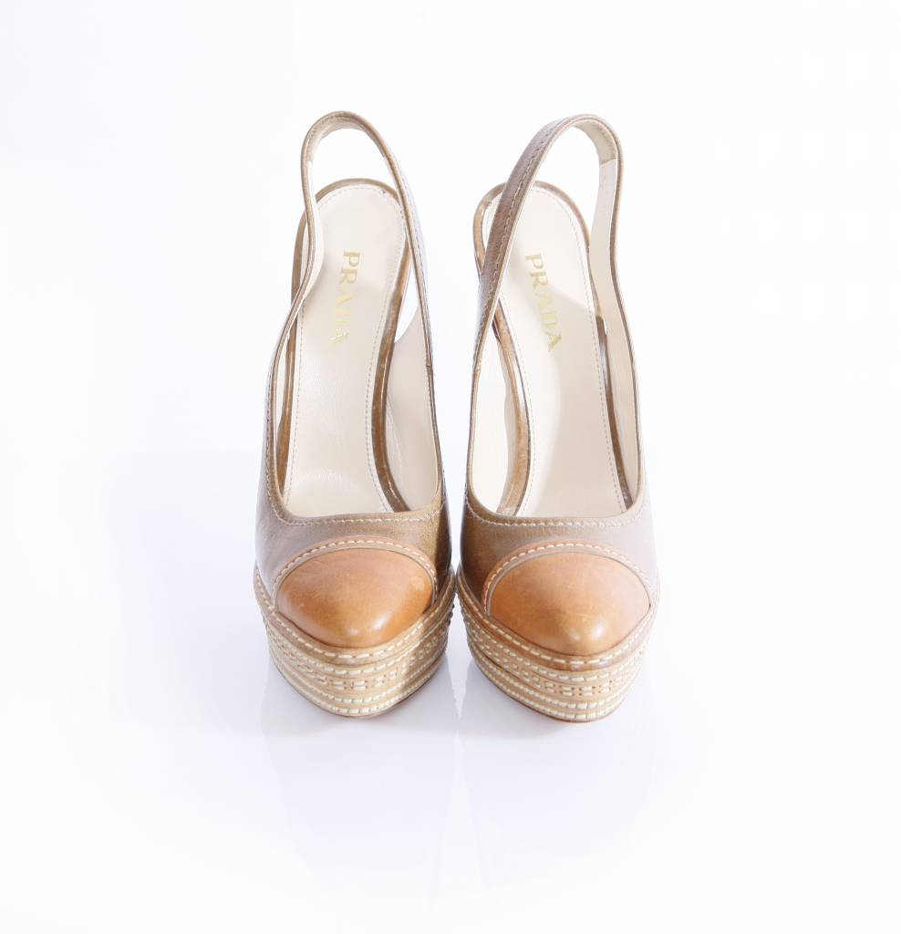 prada prada slingback brown high heel shoes in size 39