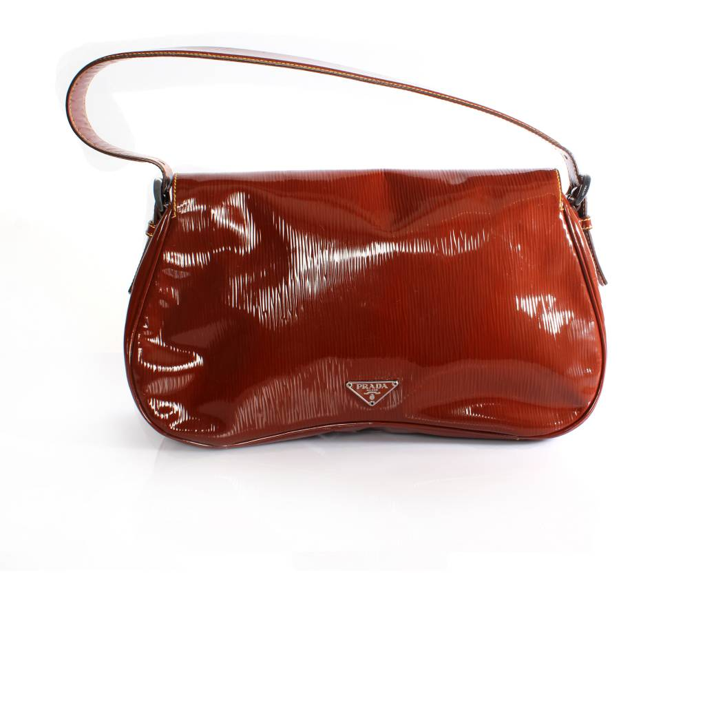 Prada Rust Brown Leather Shoulder Bag With Silver Metal And Lining
