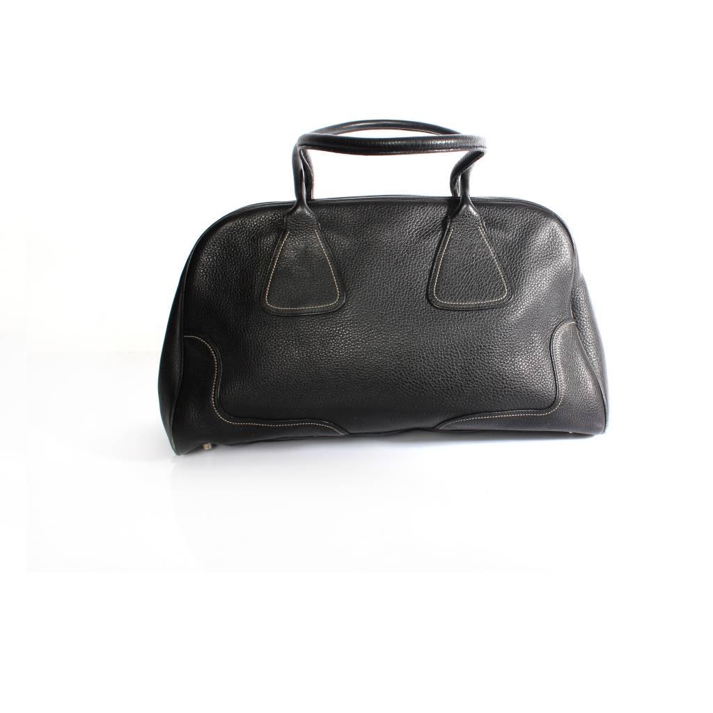 prada red leather purse - Prada Prada, black embossed leather handbag with silver metal ...