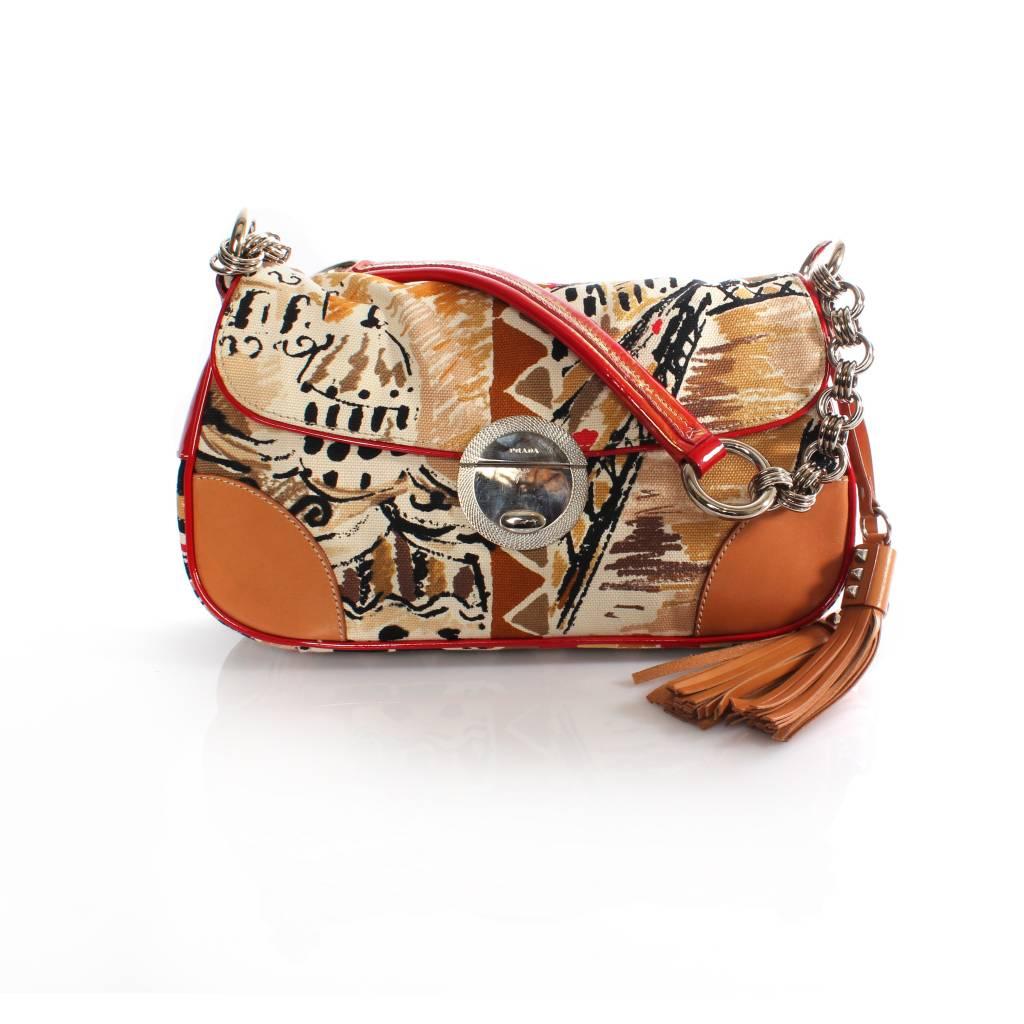 small prada bags - Prada Prada, fantasy print shoulder bag with leather/patent ...