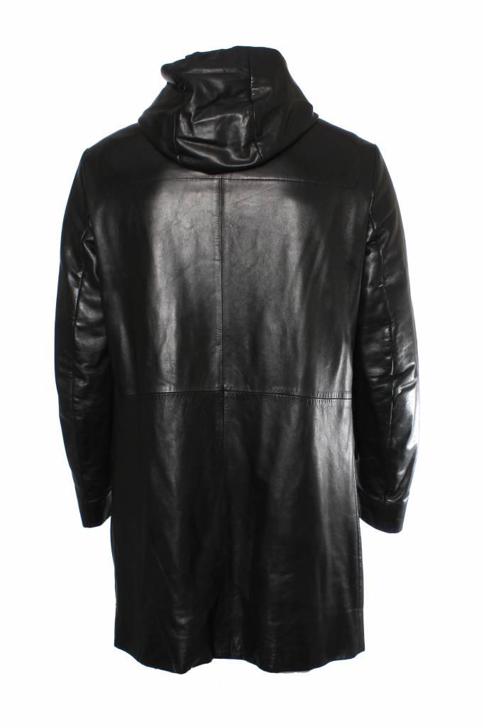 Prada Prada black leather parka jacket with hoody and Velcro ...