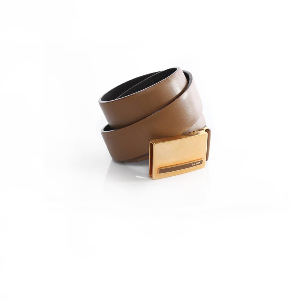 prada prada camel brown leather belt with gold buckle in