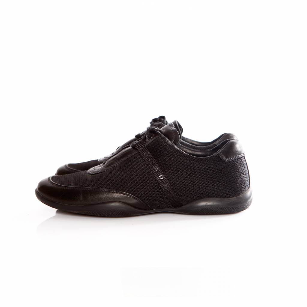 In Black And Leather With Sneakers Logo Prada Fabric Prada qOwPt4