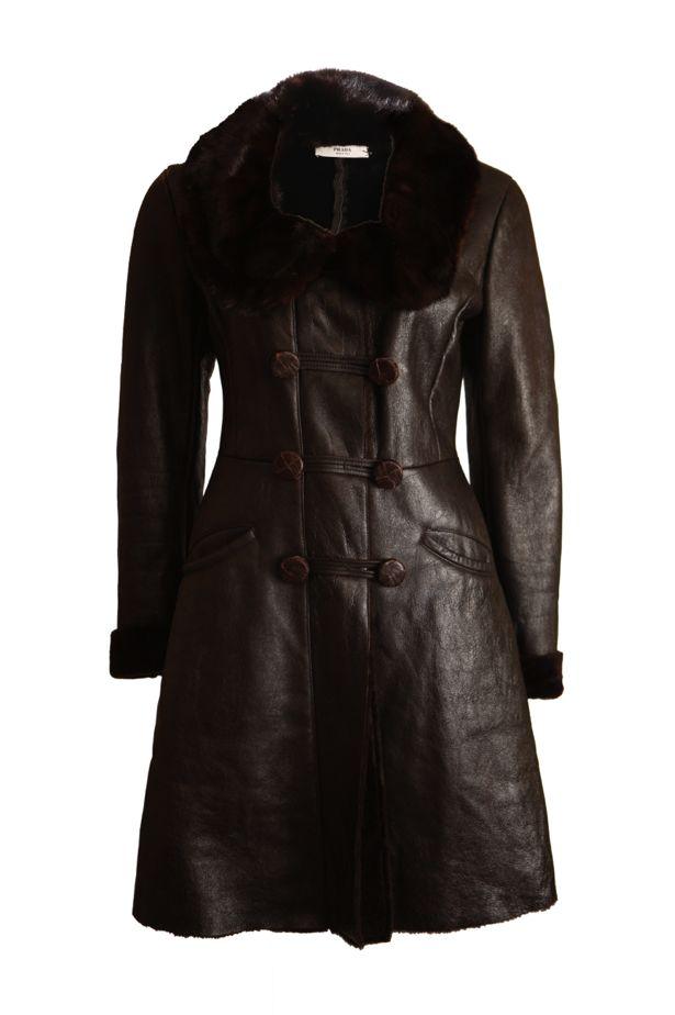 mink brown Prada dyed coat fur fur sheep collar with leather Prada 8w5q7H