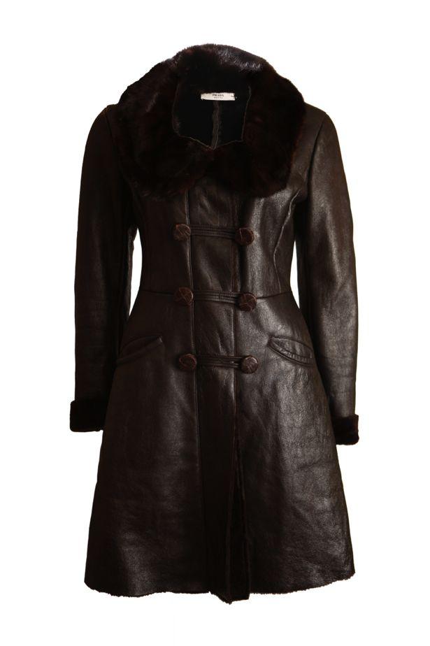 Prada Prada, brown leather coat with dyed sheep fur, mink fur ...