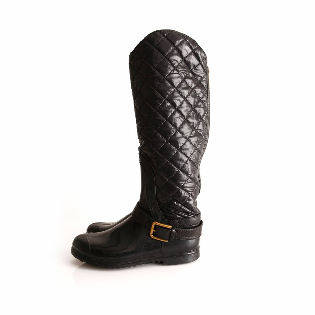 Burberry Burberry, quilted rainboots with nylon and bronze ... : burberry quilted rain boots - Adamdwight.com