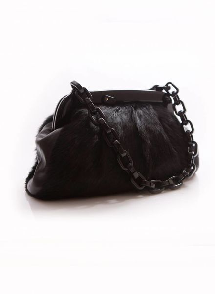 088bffc807e2 Chanel Chanel black fur bag with plastic chain and clasp with Chanel logo.  - Unique Designer Pieces