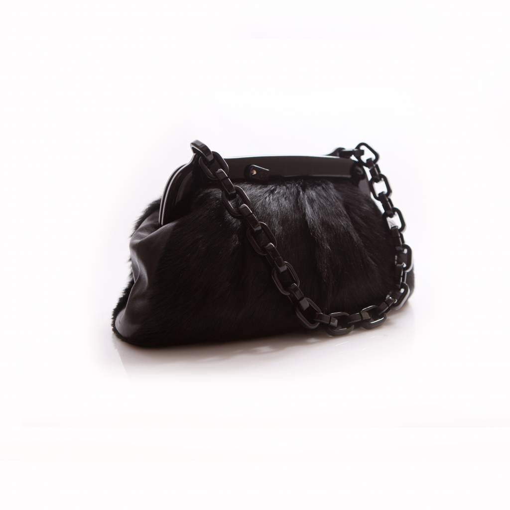 Chanel Black Fur Bag With Plastic Chain And Clasp Logo