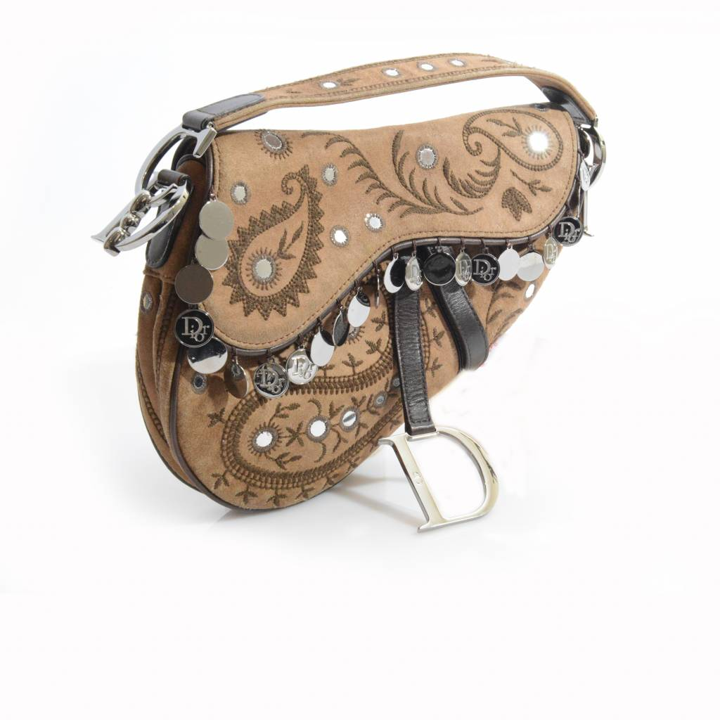 Dior Brown Suede Saddle Bag With Coins
